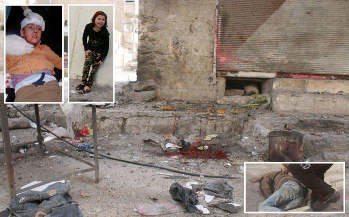 ادلب: اسدی فوج کی بم باری کا نشانہ بننے والے بازار میں سڑک پر لاش اور اشیا بکھری پڑی ہیں' زخمی بچے کو طبی امداد فراہم کی جارہی ہے