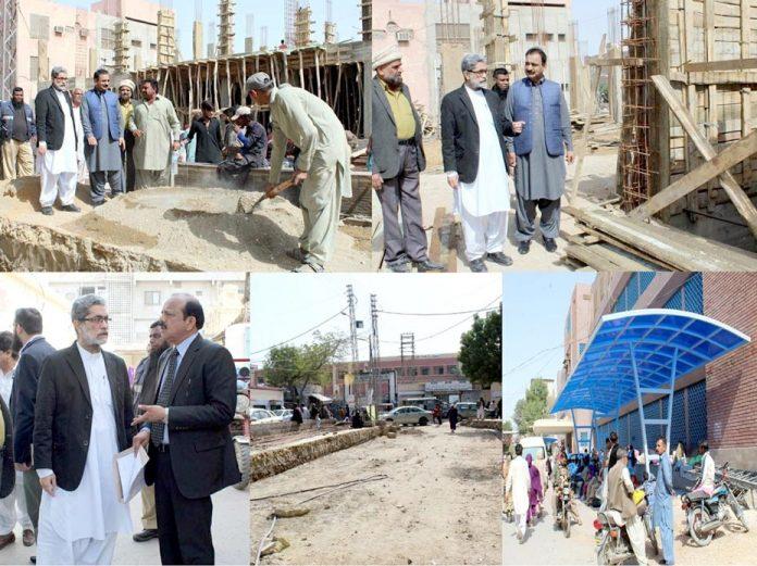 حیدر آباد: قائم مقام میڈیکل سپرنٹنڈنٹ لمس ڈاکٹر نعیم ضیا میمن سول اسپتال میں جاری تعمیراتی کاموں کا معائنہ کررہے ہیں