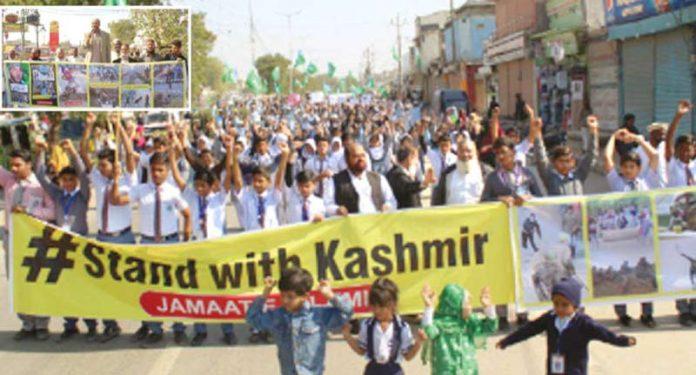نائب امیر جماعت اسلامی کراچی اسامہ رضی یکجہتی کشمیر ریلی سے خطاب کررہے ہیں