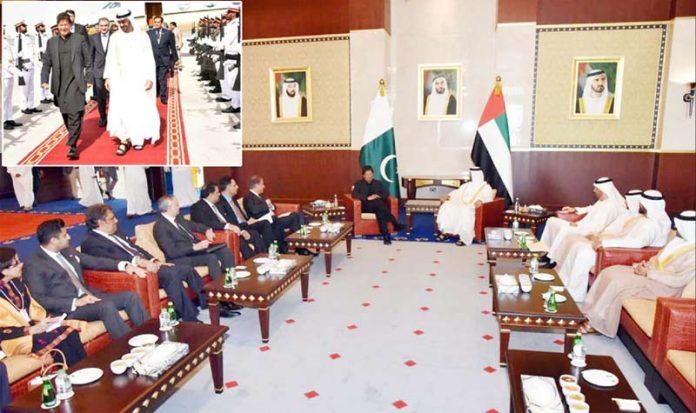 دبئی، وزیراعظم عمران خان ابو ظبی کے ولی عہد شیخ محمد زید بن النہیان سے ملاقات کررہے ہیں، چھوٹی تصویر میں ولی عہد استقبال کررہے ہیں