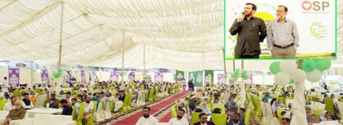گرین کریسنٹ ٹرسٹ کے سی ای او زاہد سعید ہلال پبلک اسکول سسٹم کے آرفن بچوں کے اعزاز میں او ایس پی گالا سے خطاب کر رہے ہیں