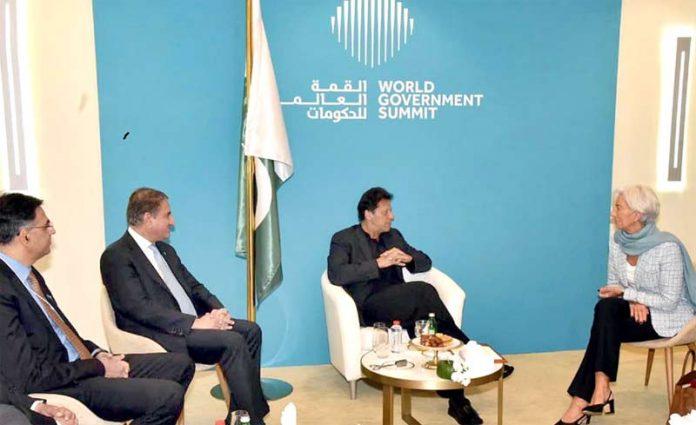 دبئی، وزیراعظم عمران خان آئی ایم ایف کی ڈائریکٹر کرسٹین لوگارڈے سے ملاقات کررہے ہیں