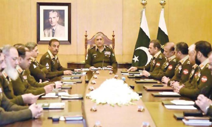 راولپنڈی: آرمی چیف جنرل قمر باجوہ کی زیر صدارت کورکمانڈرز اجلاس ہورہا ہے