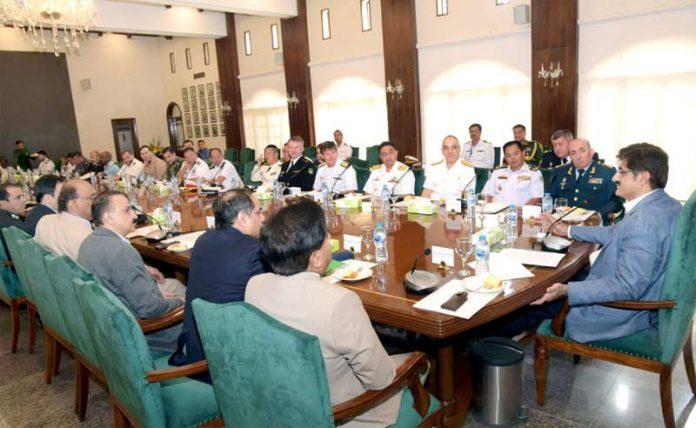 کراچی، وزیر اعلیٰ سندھ مراد علی شاہ کثیرا لملکی امن مشق 2019میں شریک مختلف ممالک کے وفود کے اجلاس کی صدارت کررہے ہیں
