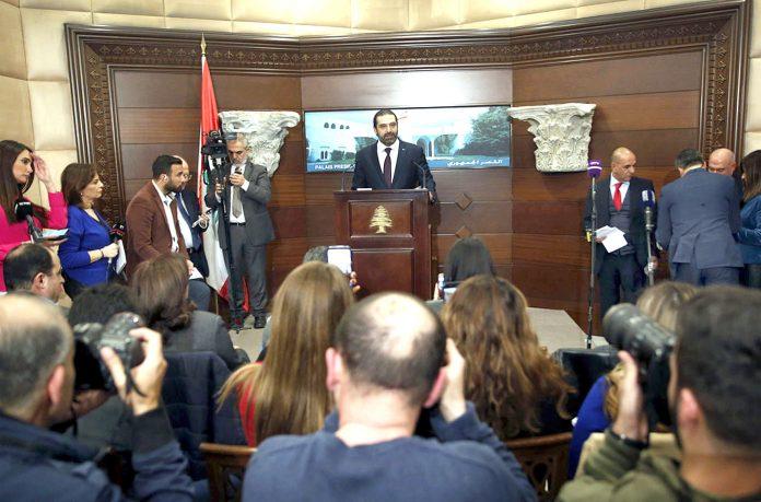 بیروت: لبنانی وزیراعظم سعد حریری پریس کانفرنس کے دوران حکومت کی تشکیل کا اعلان کررہے ہیںبیروت: لبنانی وزیراعظم سعد حریری پریس کانفرنس کے دوران حکومت کی تشکیل کا اعلان کررہے ہیں