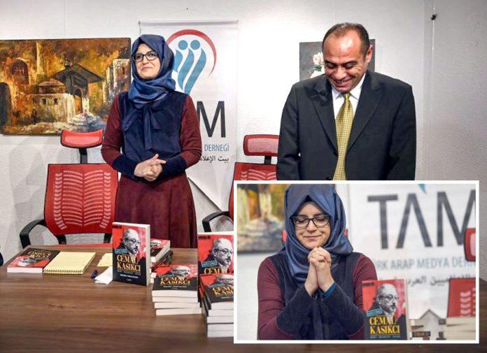 استنبول: سعودی صحافی جمال خاشق جی کی منگیتر خدیجہ مقتول سے متعلق اپنی کتاب کی تقریب رونمائی میں شریک ہیں