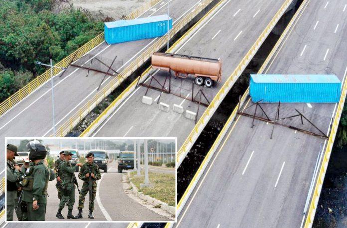 وینزویلا: امریکا سے آنے والے امدادی قافلے کو روکنے کے لیے کولمبیا سے متصل قومی شاہراہ بند کردی گئی ہے