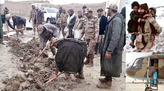بلوچستان میں سیلاب سے متاثرہ علاقوں میں فوجی جوان امدادی سرگرمیوں میں مصروف ہیں، چھوٹی تصاویر میں لوگوں کو محفوظ مقام پر منتقل کیا جا رہا ہے