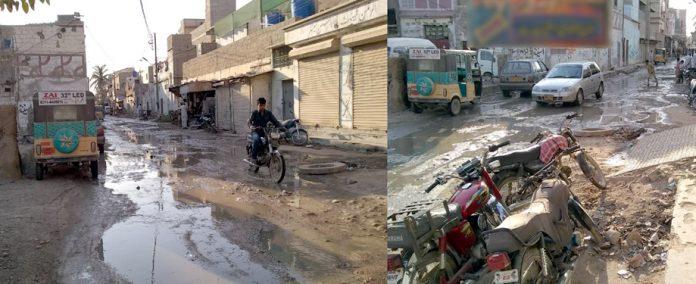 نیو کراچی سیکٹر 5-E میں گلیاں ٹوٹ پھوٹ کا شکار ہیں