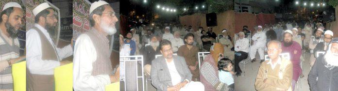جماعت اسلامی علاقہ فاطمہ جناح کالونی کے تحت قرآن و سنت کانفرنس سے سیف الدین ایڈووکیٹ، مولانا عبد الوحید اور انور اسماعیل خطاب کررہے ہیں