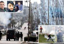 مقبوضہ بیت المقدس: اسرائیلی فوج کے ہاتھوں نوجوانوں کی شہادت کے بعد مغربی کنارے میں جھڑپیں ہورہی ہیں' چھوٹی تصاویر (اوپر) تینوں شہدا کی ہیں