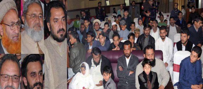 امیرجماعت اسلامی ضلع راولپنڈی راجا محمد جواد ،ضلعی جنرل سکیرٹری امجد حسین شاہ ودیگر کنونشن سے خطاب کررہے ہیں