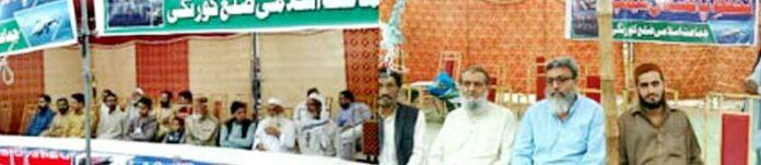 امیرجماعت اسلامی عبدالجمیل خان بھارتی جارحیت کے خلاف لگائے گئے کیمپ میں خطاب کررہے ہیں