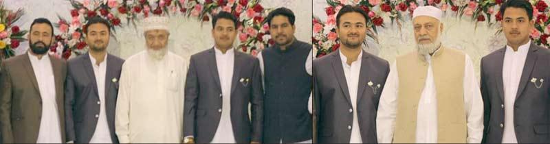 امیر جماعت اسلامی سندھ محمد حسین محنتی،امیر ضلع غربی اسحاق خان و دیگر گل رحیم کے صاحبزادوں کی تقریب ولیمہ میں شریک ہیں