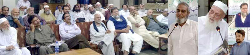 جمعیت الفلاح:دوقومی نظریے کے موضوع پرشاہنوازفاروقی،پروفیسرعنایت علی خان ،قیصرخان اور سعید صدیقی خطاب کررہے ہیں