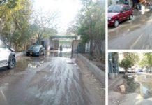 سندھ سیکرٹریٹ بلاک 4-B میں صوبائی وزرا اور دیگر سرکاری دفتر کے اطراف پوری سڑک پر سیوریج کا پانی بہہ رہا ہے (فوٹو جسارت)