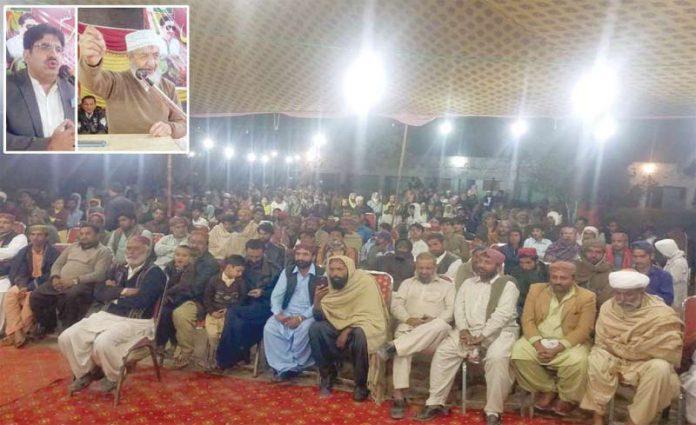 کشمور: امیر جماعت اسلامی سندھ حسین محنتی اور شمشیر خان استحکام پاکستان کانفرنس سے خطاب کررہے ہیں