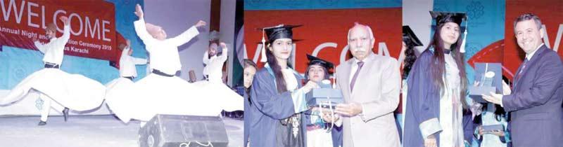 پاک ترک معارف انٹرنیشنل اسکولز اینڈ کالجز،گلشن اقبال کیمپس کے تحت تقریب میں ترک کونسل جنرل طولغا طالبات کو ایوارڈ دے رہے ہیں