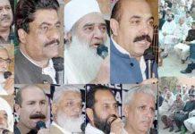 مسلم لیگ ن سندھ کے صوبائی رہنما عصمت انور محسود کی رہائش گاہ پر یوم پاکستان کے موقع پر منعقدہ جلسے سے عصمت انور محسود و دیگر خطاب کر رہے ہیں