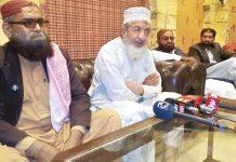 سکھر: امیر جماعت اسلامی سندھ محمد حسین محنتی پریس کانفرنس کررہے ہیں