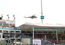 کراچی: پی ایس ایل فور کے فائنل میچ سے قبل ہیلی کا پٹر کے ذریعے نیشنل اسٹیڈیم کی سیکورٹی کا جائزہ لیا جارہاہے