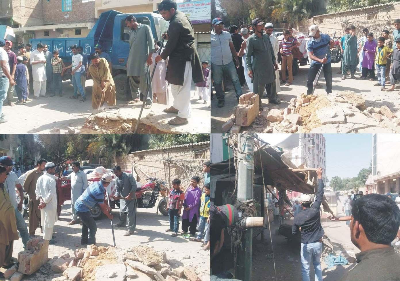 حیدرآباد،انسداد تجاوزات کا عملہ جی او آر کالونی میں تجاوزات مسمار کررہا ہے
