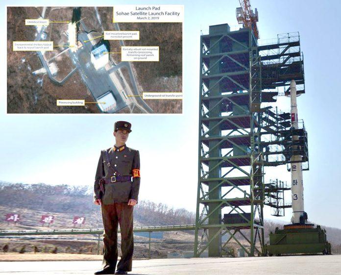 شمالی کوریا: سوہائی لانچنگ اسٹیشن کی فائل فوٹو' چھوٹی تصویر حال ہی میں سیٹلائٹ سے لی گئی ہے