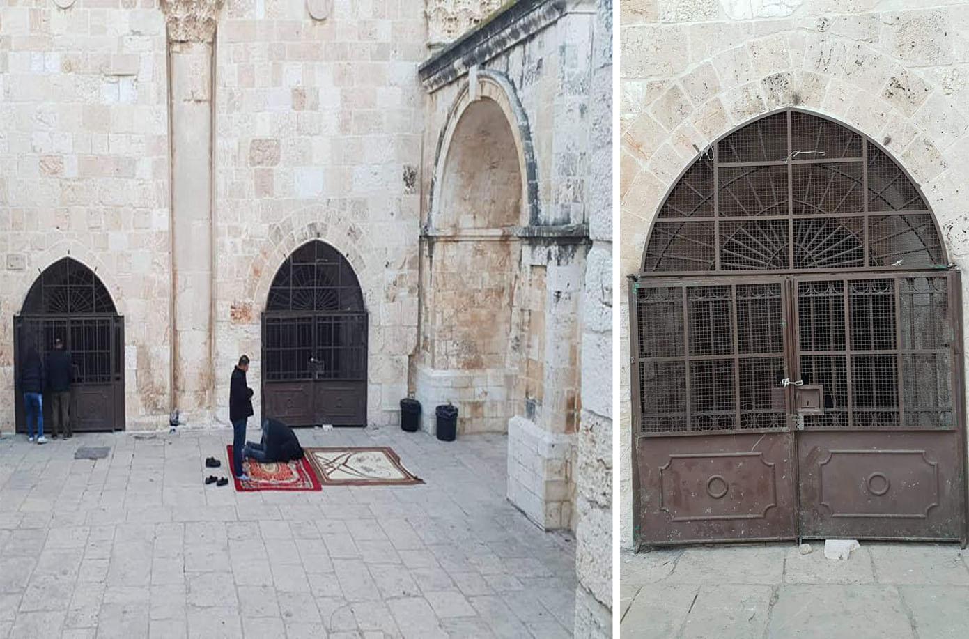 مقبوضہ بیت المقدس: قابض صہیونی انتظامیہ نے مسجداقصیٰ سے متصل مصلیٰ بابِ رحمت کو ایک بار پھر تالا ڈال کر نمازیوں کے لیے بند کردیا ہے