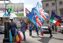 لندن: بریگزٹ کا اختیار واپس ایوان کو دینے کے لیے کرائی گئی رائے شماری کے وقت شہری پارلیمان کے باہر مظاہرہ کررہے ہیں