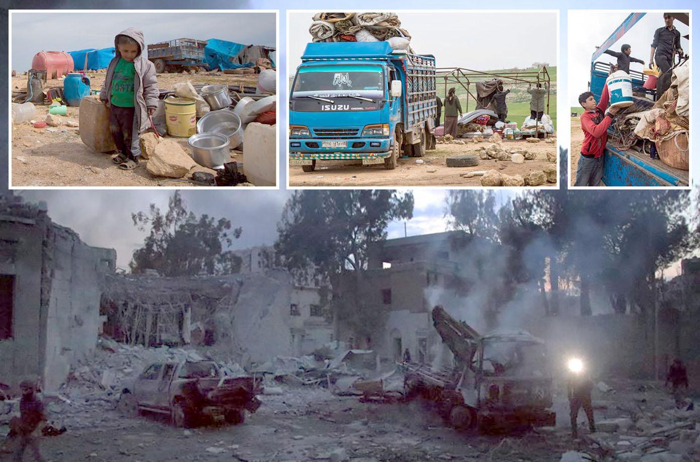 ادلب: روسی بم باری سے مکانات اور گاڑیاں تباہ ہوگئی ہیں' نشانہ بننے والی خیمہ بستی سے پناہ گزین پھر نقل مکانی کررہے ہیں