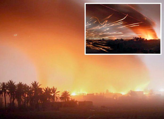 شام: داعش کے آخری گڑھ باغوز اور گردونواح میں جاری امریکی بمباری سے آسمان سرخ ہوگیا ہے