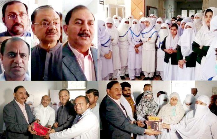 میرپور خاص: روٹری انٹرنیشنل پاکستان کے نومنتخب گورنر رئیس احمد خان نرسز کو کتابیں فراہم کررہے ہیں، دوسری جانب مقررین خطاب کررہے ہیں