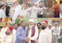 حیدرآباد/ٹنڈوجام: امیر جماعت اسلامی سندھ محمد حسین محنتی، عبدالوحید قریشی اور حافظ طاہر مجید رابطہ عوام مہم کے دوران تاجروں وشہریوں سے ملاقات کر رہے ہیں