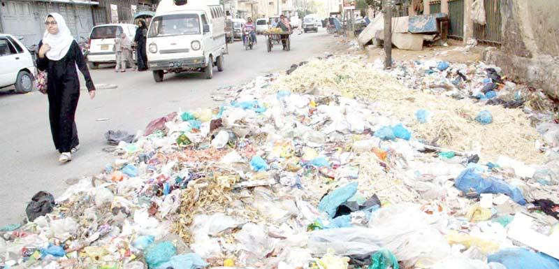 نشتر پارک کے قریب سڑک کنارے کچرے کے ڈھیر کی وجہ سے ٹریفک اور راہگیروں کو پریشانی کا سامنا ہے