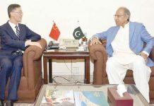 اسلام آباد: چین کے سفیرمشیرخزانہ عبدالحفیظ شیخ سے ملاقات کررہے ہیں