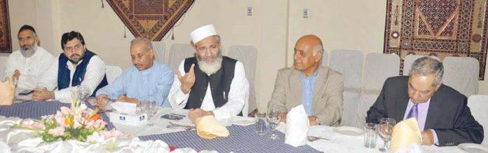 اسلام آباد: امیر جماعت اسلامی پاکستان سراج الحق مدیروں کے اعزاز میں افطار ڈنر سے خطاب کررہے ہیں