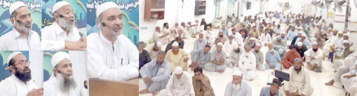 جماعت اسلامی کراچی کے امیر حافظ نعیم الرحمن، ڈاکٹر واسع شاکر، محمد یوسف ودیگر ضلع شمالی کے تحت شب بیداری سے خطاب کررہے ہیں