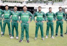 پاکستان کرکٹ ٹیم کاورلڈ کپ کے موقع پرتیار کی گئی نئی کٹ کے ساتھ لیاگیا گروپ فوٹو
