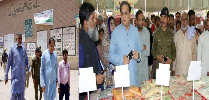 کمشنر ملتان سجاع عباد دورے کے موقع پر رمضان بازار اور گندم خریداری مراکز کا جائزہ لے رہے ہیں