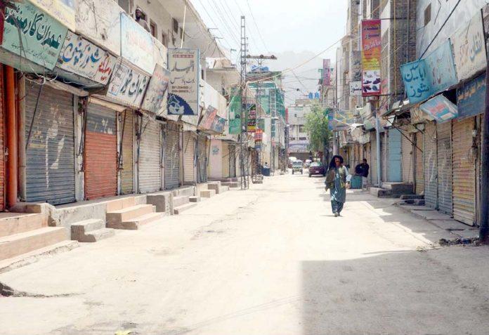کوئٹہ،انجمن تاجران کی اپیل پر کی گئی ہڑتال کے موقع پر بازار کی دکانیں بند پڑی ہوئی ہیں