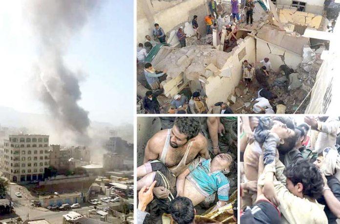 صنعا: بم باری کے نتیجے میں مکانات تباہ ہوگئے ہیں' شہری ملبے سے نکالی گئی بچے کی لاش لے جارہا ہے