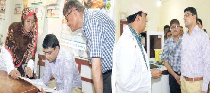 نوشہروفیروز، ڈپٹی کمشنر کیپٹن(ر) بلال شاہد رائو سول اسپتال کے دورے کے موقع پر اسپتال کے عملے سے معلومات حاصل کررہے ہیں