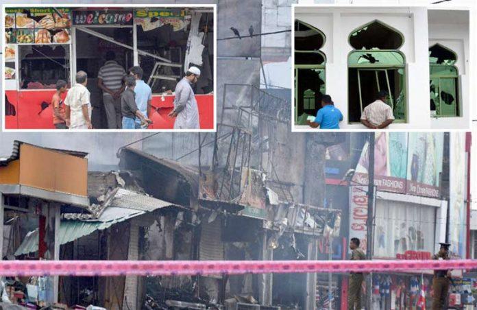 سری لنکا: عیسائی شرپسندوں کے حملوں کا نشانہ بننے والی مسلمانوں کی املاک اور مسجد کو پہنچنے والا نقصان نظر آرہا ہے