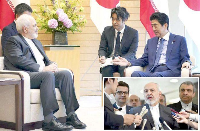 ٹوکیو: ایرانی وزیر خارجہ جواد ظریف جاپانی وزیراعظم شنزوآبے سے ملاقات اور میڈیا سے گفتگو کررہے ہیں
