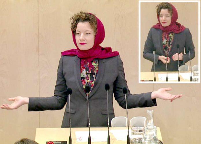 ویانا: آسٹریا کی رکن پارلیمان مارتھا بسمین حجاب پہن کر مسلمانوں کے حق میں خطاب کررہی ہیں