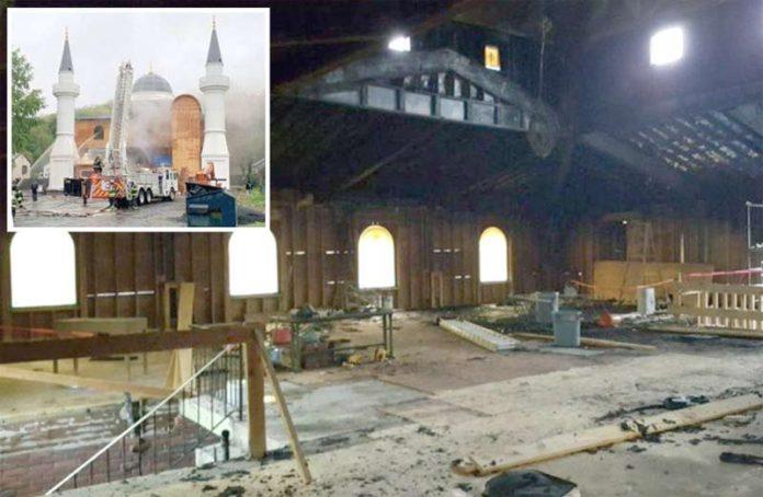 نیو ہیون: کیمیائی مادہ ڈال کر نذرآتش کی گئی مسجد کا اندرونی حصہ مکمل طور پر شہید ہوگیا ہے