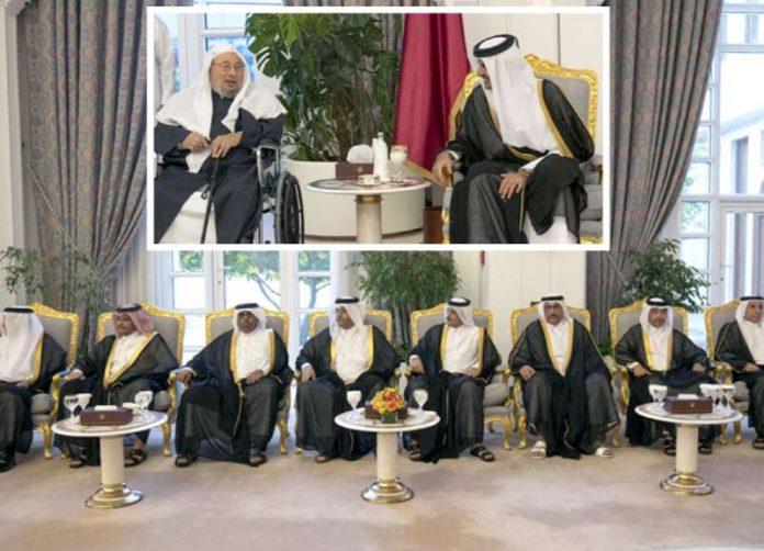 دوحہ: امیر قطر شیخ تمیم بن حمد الثانی علما و مشایخ سے ملاقات کررہے ہیں' ڈاکٹر یوسف قرضاوی نمایاں ہیں