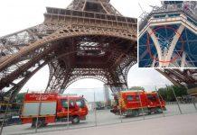 پیرس: جنونی شخص کے ایفل ٹاور پر چڑھ جانے کے بعد احاطہ بند کردیا گیا ہے' امدادی کارکن کارروائی کررہے ہیں