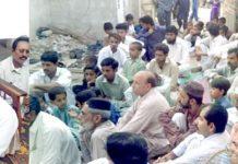 حافظ نصراللہ عزیز عوامی کالونی شرافی گوٹھ میں افطار پارٹی سے خطاب کر رہے ہیں