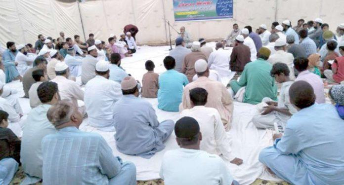 جنرل سیکرٹری جماعت اسلامی وسطی انجم رفعت اللہ دعوت افطار سے خطاب کررہے ہیں